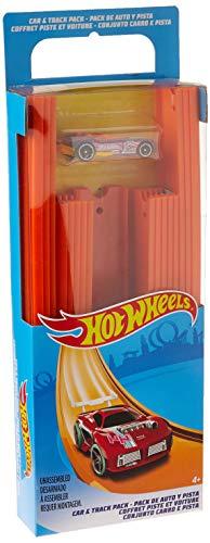 Hot Wheels BHT77 Track Builder Gerade Rennbahn Set, Trackset Zubehör mit ca. 4,5 m Länge und 18 Trackverbindungen inkl. 1 Spielzeugauto, ab 6 Jahren (Hot Fall Wheels Auto)