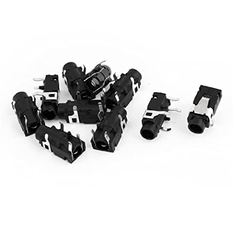 Sourcingmap 3.5mm Stereo Jack Socket PCB Mount Connector (Pack of 10)