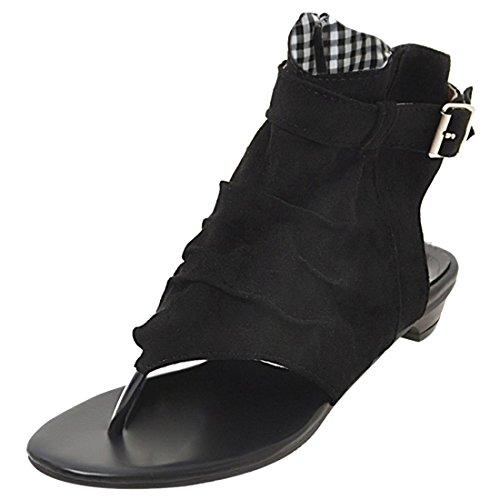 Artfaerie Damen Clip Zeh Slingback Sommer Ankle Boots mit Schnalle und Reißverschluss Niedrige Bequem Sandalen Offen Schuhe