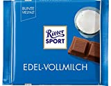 RITTER SPORT Edel-Vollmilch (100 g), hochwertige Vollmilchschokolade, intensiver Geschmack dank 35% Kakao, edle Kakaobohnen aus Ecuador