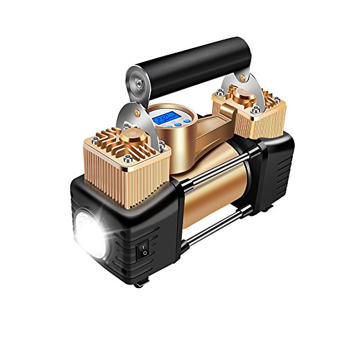 WCYTIRES Reifenfüller, 12V Tragbar, Doppelzylinder, Hochdruck, Vordefinierter Reifendruck, Intelligente Digitalanzeige, Selbstaufladung, LED-Beleuchtung, mit Aufbewahrungstasche -Gold
