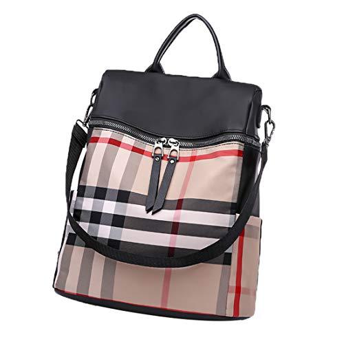 ZSbag Campus Studenten Rucksack Kariert Niedlich Schultasche Oxford-Tuch Daypacks Elegant Einfach Multifunktional Vintage Schulrucksack (Beige)