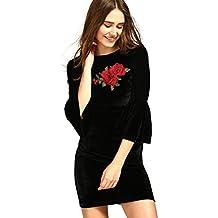 Aashish Garments Women's Black Velvet Bell Sleeves Patch Dress