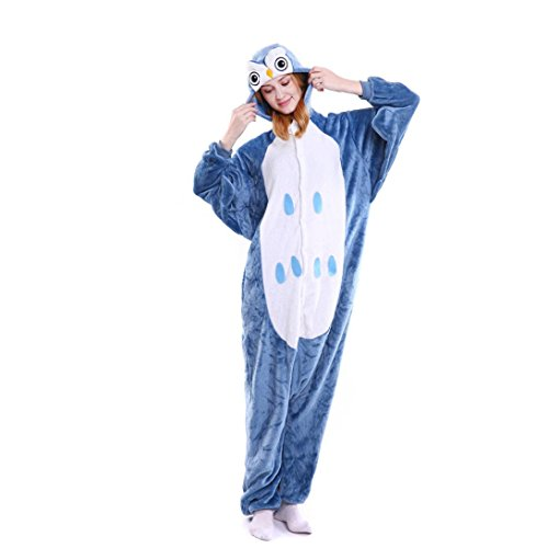 Flanell Nachthemden Herren Damen, DoraMe Männer Frauen Neuheit Weihnachten Pyjama Cartoon Tier Jumpsuit Cosplay Schlafanzüge Pinguin Nachtwäsche (Blau, XL) (Kurzarm-tier)