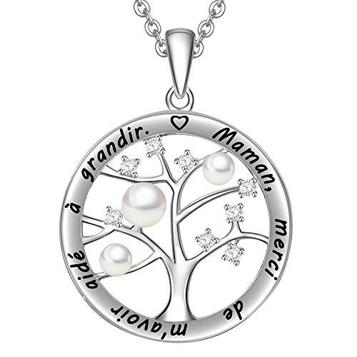 LOVORDS Collier Mère Femme Gravé en Argent 925/1000 Pendentif Perle de Culture Blanche 3-4mm Cercle et Arbre de Vie Cadeau pour Maman