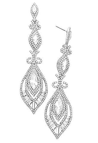 Rosemarie Kollektionen Damen Viktorianischer Art Deco, facettiertem Kristall Statement Ohrringe (Silber)