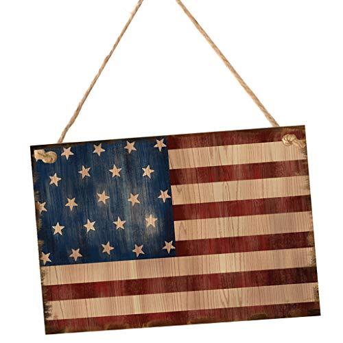 FLAMEER Türschilder Wandschild Plakette Zeichen mit Flagge Design für Amerika 4. Juli Unabhängigkeitstag