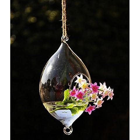 Kungfu Mall Hanging Forma d' oliva Vaso di vetro idroponico piante da giardino Flower Pot - Hanging Flower Vase