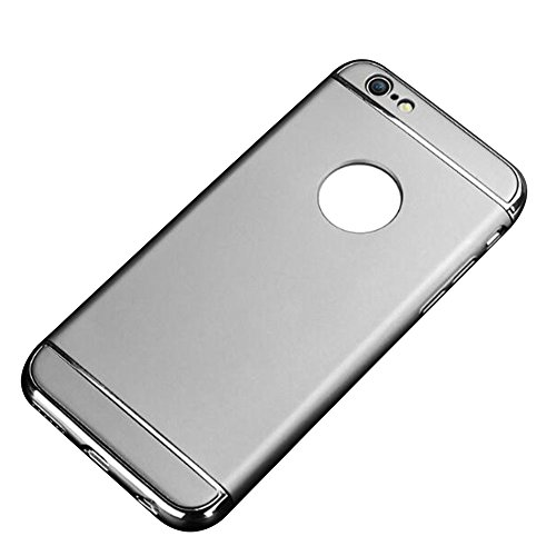 Cuitan 3 in 1 PC Harte Schutzhülle für Apple iPhone 6 / 6s (4,7 Zoll), mit Electroplate Bumper Rück Abdeckung Back Cover Voll Protective Case Hülle Handytasche Rückseite Tasche Handyhülle für iPhone 6 Silber