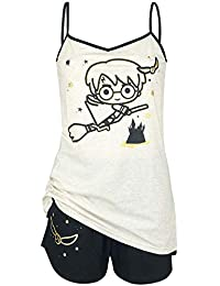 Harry Potter Chibi Quidditch Pijama Crema/Negro