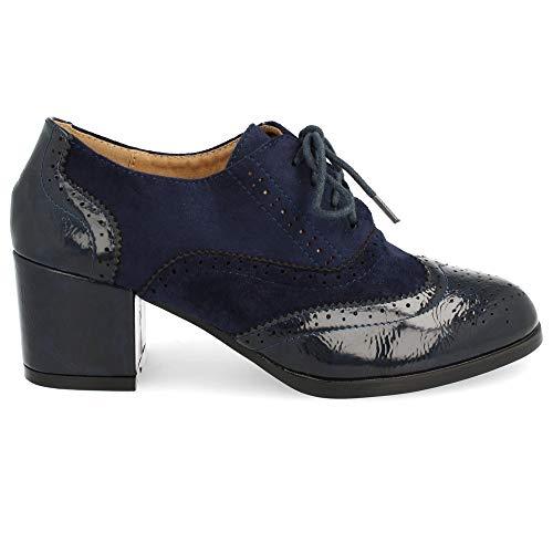 Zapato de Tacon Cuadrado con Cordones Redondos y Patron Calado Tipo Oxford. Altura del Tacon: 6 cm. Talla 38 Marino