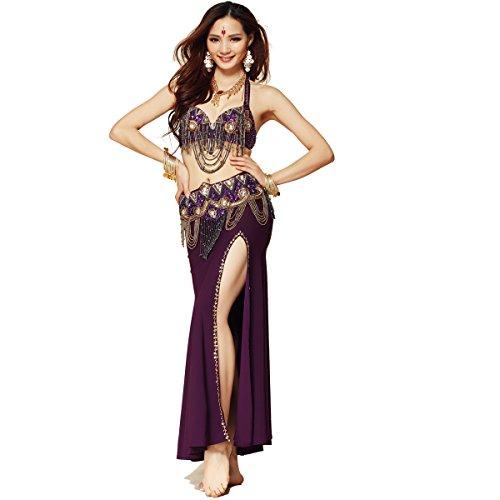Best Dance Damen Bauchtanz Profi Full Kostüm-Set 3Bilder Top & Gürtel & (Bauchtanz Kostüme Profi)