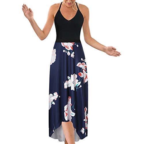 SHINEHUA Lange Kleider Damen Blumen Maxi Kleid Ärmellos V-Ausschnitt Kleider Sommerkleider Sexy Neckholder Abendkleid Strandkleid Party Chiffon Cocktailkleid Elegant Knielang Festlich -