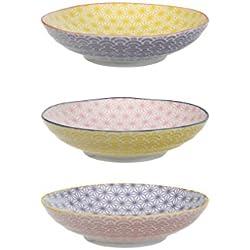 Tokyo Design Studio Star Wave Pastateller 21 cm - 3-er Set Pastatelller aus hochwertigem Porzellan - Spüllmaschinenfest und Mikrowellen geeignet