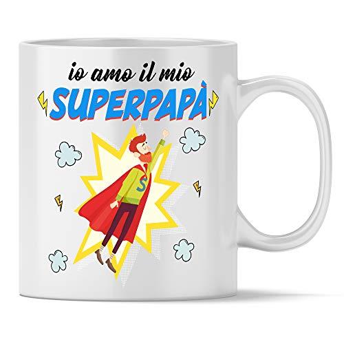 My digital print tazza io amo il mio superpapà, regalo per il papà migliore del mondo, tazza in ceramica bianca 350ml, idea regalo festa del papà