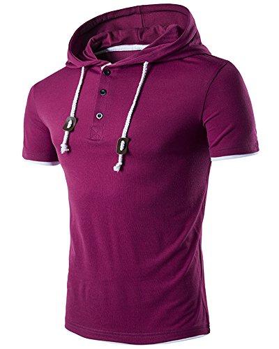 Herren Hooded T-Shirt Slim Fit Kurzarm Hoodie Rot