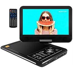"""APEMAN Lecteur DVD Portable avec Grand Écran Pivotant 10,5"""" Batterie Rechargeable Intégrée Carte SD et USB Prise en Charge Directe Formats AVI/RMVB / MP3 / JPEG (Noir)"""