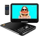 """APEMAN 12.5"""" Lecteur DVD Portable Grand écran Pivotant 10,5"""" Batterie Rechargeable intégrée Carte SD USB Prise en Charge Directe Formats AVI/RMVB / MP3 / JPEG (Noir)"""