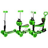 Kids Toddler Kick 3 Wheel Ride On Scooter With Removable Seat And Back Rest For Children Boys Girls