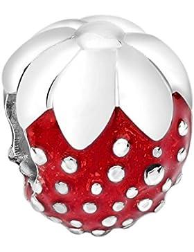 Nenalina Erdbeere Silber Bead mit Emaillie rot in 925 Sterling Silber, auch kompatibel für Pandora Beads Armbänder...