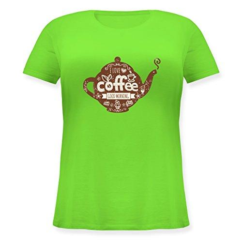 Shirtracer Statement Shirts - I Love Coffee Kanne - S (44) - Hellgrün - JHK601 - Lockeres Damen-Shirt in großen Größen mit Rundhalsausschnitt