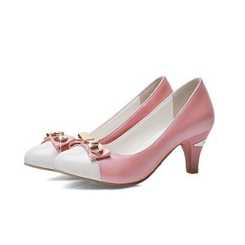 AllhqFashion Femme Pu Cuir à Talon Correct Rond Couleurs Mélangées Tire Chaussures Légeres Rose