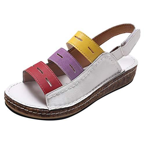YU'TING ☀‿☀ Zoccoli Donna, Pantofole in Pelle Donna Estivi Sandali Punta Aperta Moda Piattaforma Ciabatte Antiscivolo Scarpe Estive All'aperto