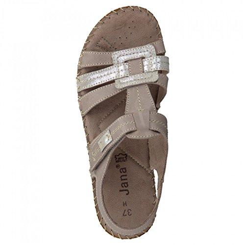 Jana Damen Sandale 8-28109-341 beige, Gr. 37 - 41, Leder, Weite H weit Taupe