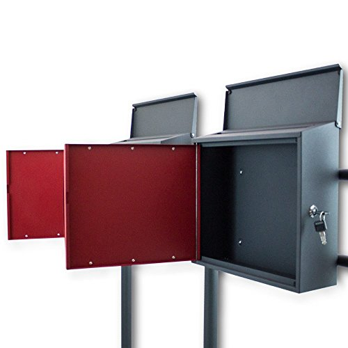 BITUXX® Design Doppelstandbriefkasten Briefkastenanlage Seitenschloss und Zeitungsfach Dunkelgrau/Rot - 3