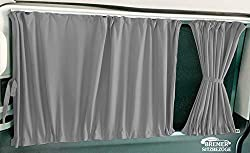 T5 und T6 Transporter langer Radstand Maß Gardinen Vorhänge Sonnenschutz mit Heckklappe Farbe: Grau