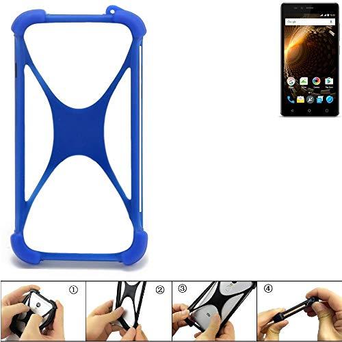 K-S-Trade Bumper Allview P6 Energy Lite Silikon Schutz Hülle Handyhülle Silikoncase Softcase Cover Case Stoßschutz, blau (1x)