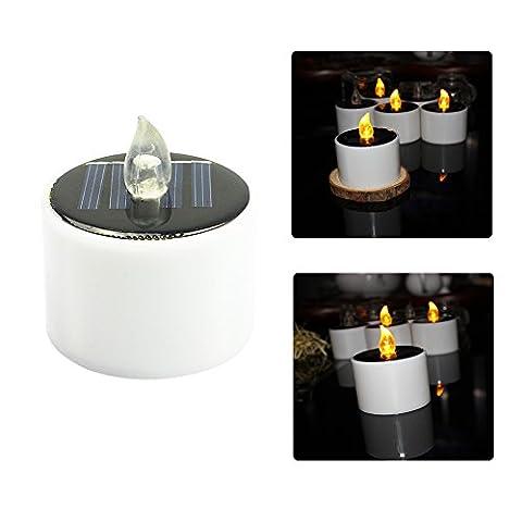 8 Stück Solar betriebene LED Fake Kerzen Flammenlose Teelichter, wiederaufladbare batteriebetriebene Teelicht Bernstein Gelb Flackernde wasserdichte Hochzeit Nightlight, Home Hochzeit Geburtstagsfeier (8 Pcs)
