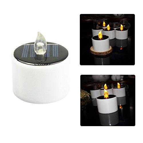 6 piezas de luz solar de la vela, té de café sin llama Lámparas de la noche LED para el Festival Yard Bar Decoración de la boda de Navidad
