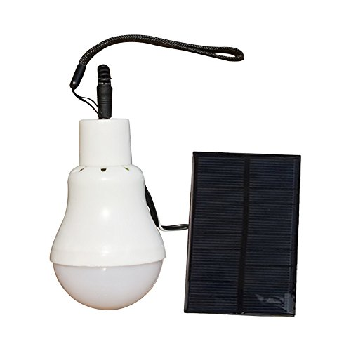 Portable LED Light Bulb Solar Panel Powered Rechargeable Lantern Lights Lamps for Home Shed Barn Indoor Outdoor Emergency Hiking Tent Reading Camping Night Work Light (Weiß) ()
