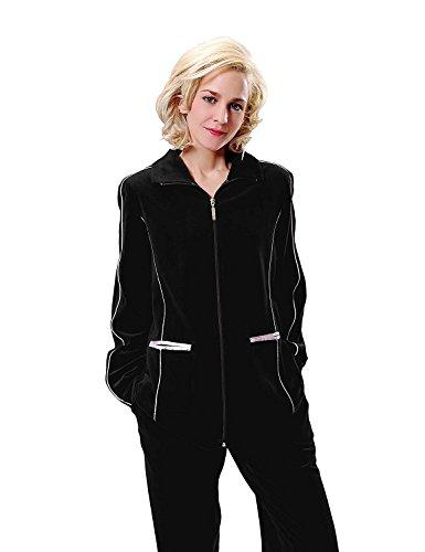 RAIKOU Damen Velours Nicki Freizeitanzug Hausanzug Nicki-Anzug mit Reißverschluss und Satinband Schwarz
