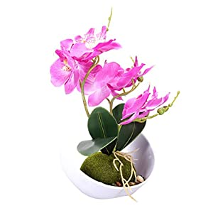VOSAREA – Flor de mesa decorativa, orquídea, mariposa, falaenopsis flor artificial salón flor de seda