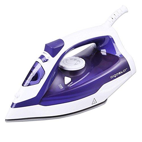 Aigostar Killer Purple 31HGC-Plancha de vapor de suela cerámica antiadherente, potencia de 2200W, control de vapor variable, sistema antigoteo y función de autolimpieza. Depósito de 370 ml y color violeta. Diseño Exclusivo