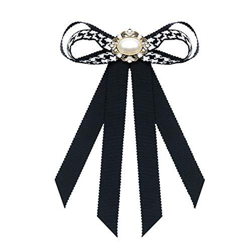 Nowbetter Damen-Brosche mit Schleife, Netzstoff, Blumenapplikation, eingelegte Strasssteine, Krawatten-Brosche, weiß, 10.5 * 16CM