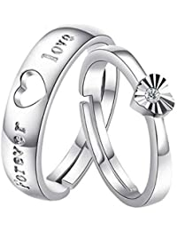 Peora Forever Austrian Crystal Love Adjustable Silver Metal Couple Ring For Men And Women
