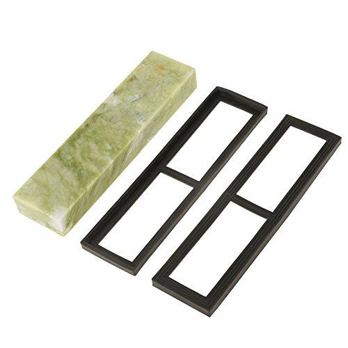 Schleifstein Abziehstein Küchenmesserschärfer für Messer, ein Geschenk oder ein Sammlerstück, Körnung 10000 natürlichem Smaragd mit 2 rutschfesten Silikagelbasen 200 * 50 * 25mm