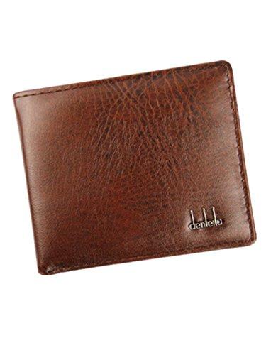 Internet Hommes Entreprise Porte-monnaie PU en cuir portefeuille bifold 11.2cm x 9.5cm Marron