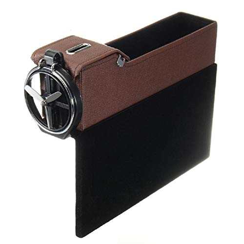 2Pcs Storage Box Car Organizer Seat Gap PU Leder Fall Pocket Car Seat Side Slit für Wallet-Kostüme Cigarette Keys Cards ()