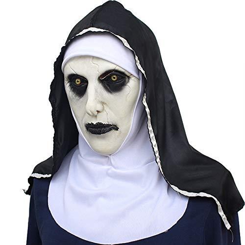 XXF Halloween Ghost Festival Horror Film Nonne Maske Angst Frau Ghost Face Cover,Schwarz und weiß,Einheitsgröße