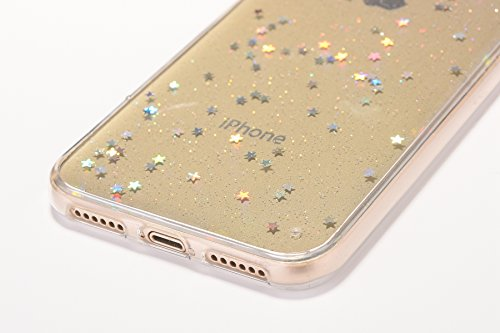 Custodia iPhone X, Cover iPhone 10 Trasparente, Brillantini Cover Custodia in Silicone per iPhone X / 10 Apple, Surakey Belle Elegante Custodia con Glitter Sottile e Morbida TPU Gomma Case Colorate Bl Stella Colore Clear