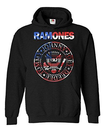 """Felpa Unisex """"Ramones - USA Flag"""" - Felpa con cappuccio rock band LaMAGLIERIA, XL, Nero"""