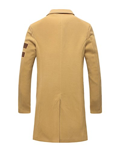 YiJee Grande Taille Single Boutonnage-Hommes Manteau D'hiver Couleur Solide Kaki