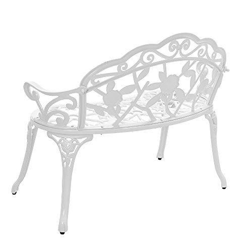 [casa.pro] Gartenbank Weiß Gusseisen – Wetterfester 2-Sitzer rund aus Metall im Antik-Design – Parkbank / Sitzbank / Eisenbank im Landhausstil - 3