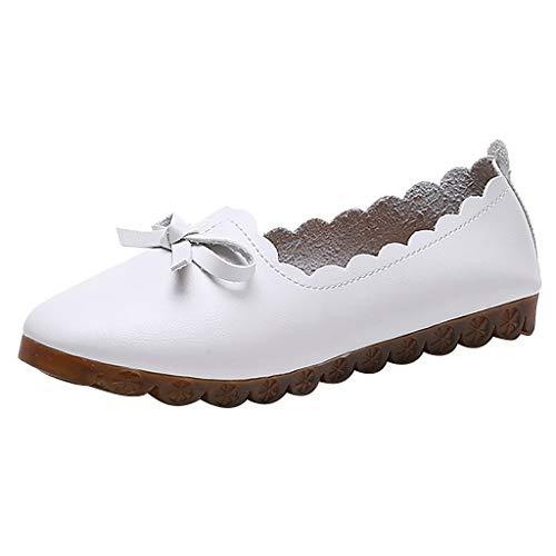 LILIHOT Damen Mokassins Bootsschuhe Leder Loafers Freizeit Schuhe Flache Fahren Halbschuhe Slippers Damenmode Freizeitschuhe Schmetterling-Knoten Flache Runde Kappe Slip-Onfreizeit Solide (Leder-gummi-sohle-kappe)