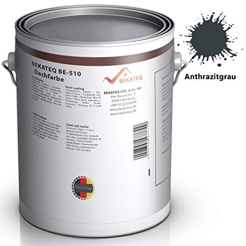 BEKATEQ BE-510 Dachbeschichtung seidenmatt Dachfarbe für diverse Arten von Dächern (Anthrazitgrau / 5L)