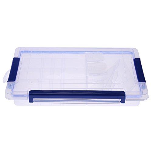 Klare Kunststoff Aufbewahrungsbox, Rechteck Stapelbar Lagerplätze Mit Blauen Rasten, Abnehmbare Schmuck Perlen Ring Aufbewahrungsbox Fach(Middle 20 compartments)